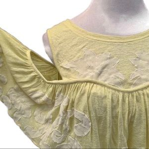 Free People Yellow Cold Shoulder Tank Top Sz M